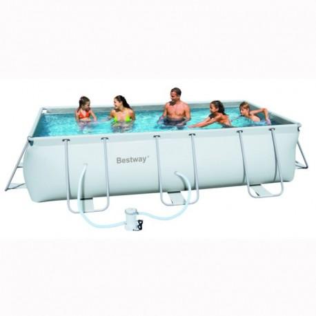 Bestway rectangular framepool 404x201x100cm for Rechthoekig zwembad met pomp